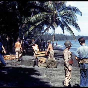 American troops unloading supplies on the shores of Guadalcanal Island in 1943 - Guadalcanal and HMAS Canberra Anniversary Tour