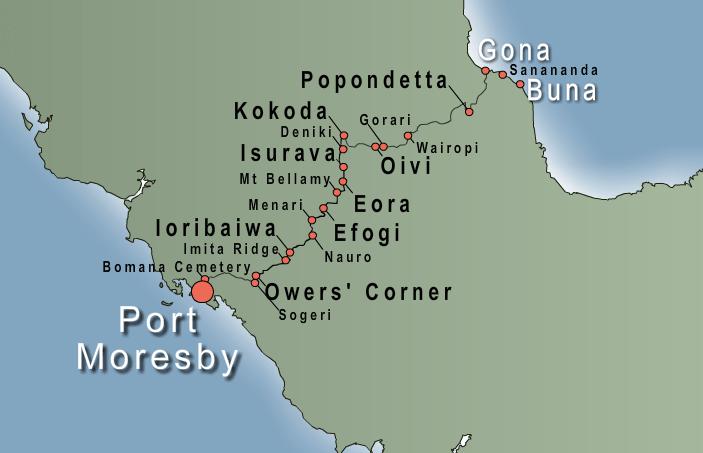 Map of Trek Kokoda Tour