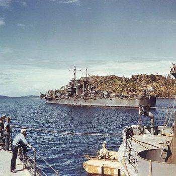 U.S. Navy light cruiser USS Saint Louis photographed at Tulagi - Guadalcanal and HMAS Canberra Anniversary Tour